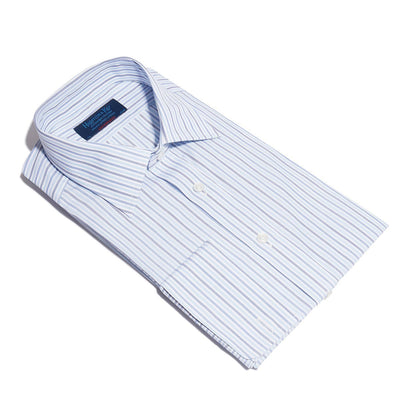 Contemporary Fit, Classic Collar, Double Cuff Shirt In White With Navy & Blue Ladder Stripe
