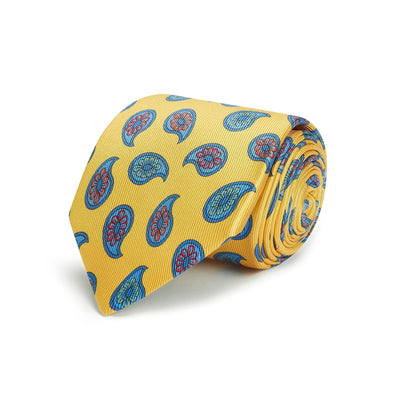 Yellow Floral Printed Silk Tie