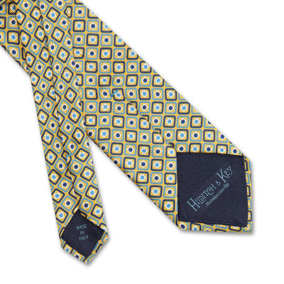 Yellow Diamonds & Squares Printed Silk Tie