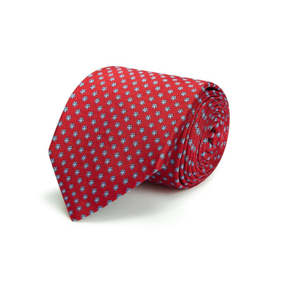 Red Small Flowers Woven Silk Tie