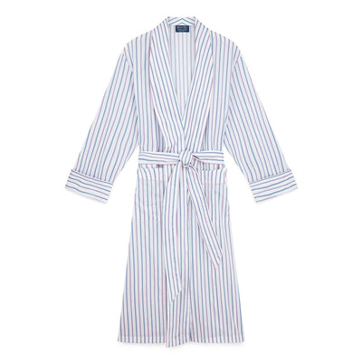 Ladies White With Blue, Navy & Pink Stripe Cotton Gown