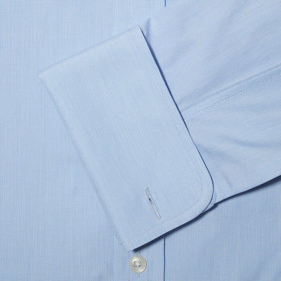 Contemporary Fit, Cut-away Collar, Double Cuff Shirt In Sky Blue Hairline
