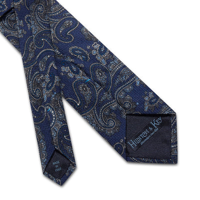 Blue With Blue Paisley Printed 100 % Cashmere Tie