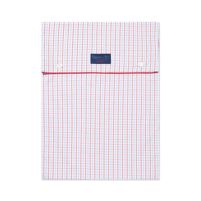 White With Blue & Red Check With Red Piping 100% Cotton Nightshirt