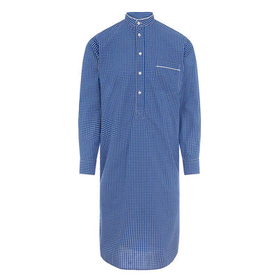 Navy With White Check With White Piping 100% Cotton Nightshirt