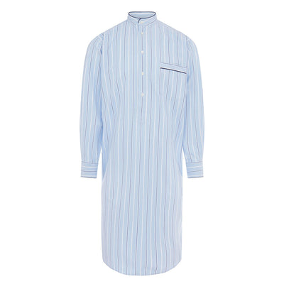 Blue With White & Navy Stripe With Navy Piping 100% Cotton Nightshirt