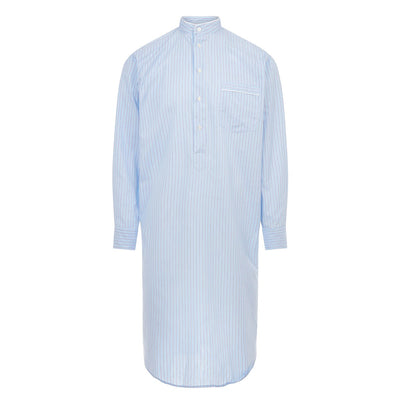 Blue With Navy Stripe With White Piping 100% Cotton Nightshirt