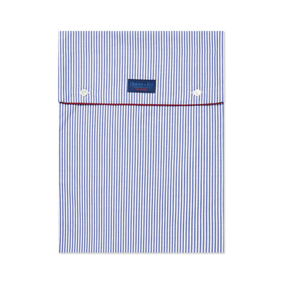 White With Navy Stripe With Red Piping 100% Cotton Nightshirt