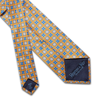 Yellow With Blue & White Flowers Printed Silk Tie