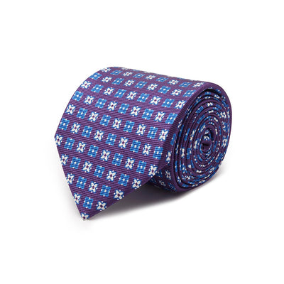 Purple With Blue & White Flowers Printed Silk Tie