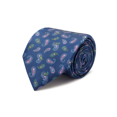 Navy With Purple & Green Paisley Printed Silk Tie