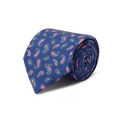 Navy With Pink Paisley Printed Silk Tie