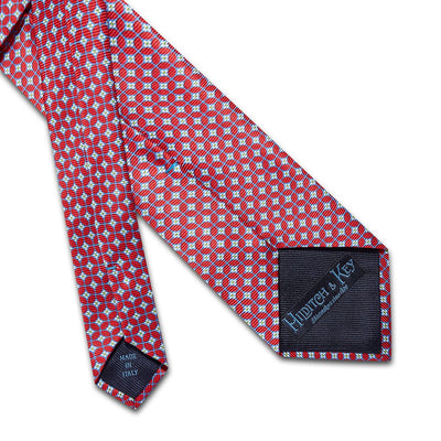 Red With Blue Overcheck Printed Silk Tie