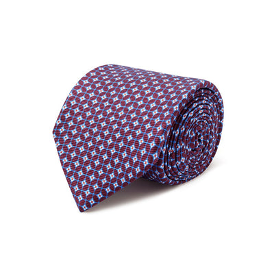 Wine With Blue Overcheck Printed Silk Tie