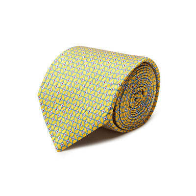 Yellow With Blue Overcheck Printed Silk Tie