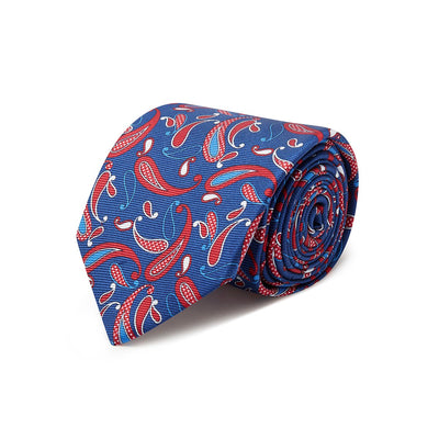Navy & Red Paisley Printed Silk Tie