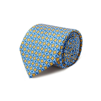 Yellow With Blue Diamonds Printed Silk Tie
