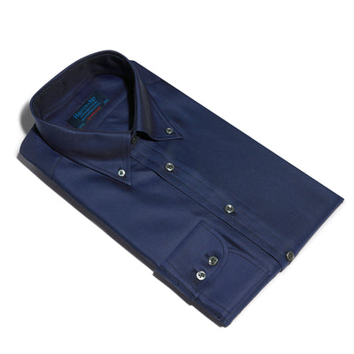 Contemporary Fit, Button Down Collar, Two Button Cuff Shirt In Navy Twill