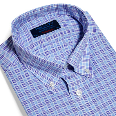 Contemporary Fit, Button Down Collar, Two Button Cuff Shirt In Blue With Purple Overcheck
