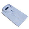 Contemporary Fit, Button Down Collar, Two Button Cuff Shirt In White & Blue With Navy Micro Overcheck