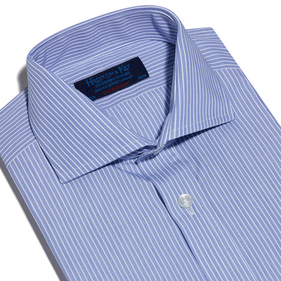 Contemporary Fit, Cutaway Collar, Two Button Cuff Shirt In Blue With White Line Stripe