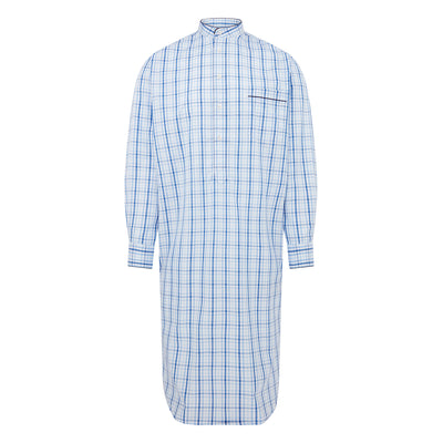 White With Blue Overcheck With Black Piping 100% Poplin Cotton Nightshirt