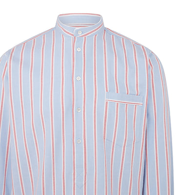 Blue With Red & White Stripe With White Piping 100% Brushed Cotton Nightshirt