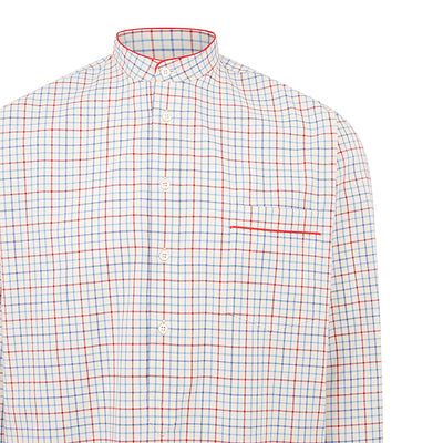 Cream With Red & Blue Check With Red Piping 100% Brushed Cotton Nightshirt