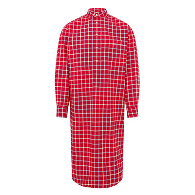 Red With Blue & White Check With White Piping Brushed 100% Cotton Nightshirt