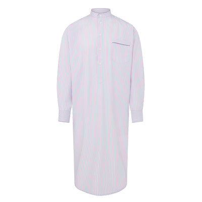 White With Blue & Lilac Stripe With Lilac Piping 100% Poplin Cotton Nightshirt