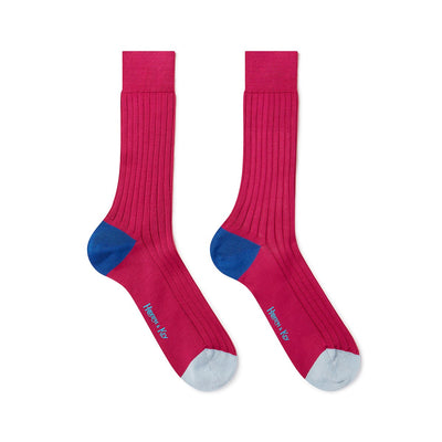 Cerise Cotton Socks with Contrast Heel & Toe