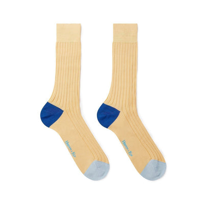 Yellow Cotton Socks with Contrast Heel & Toe