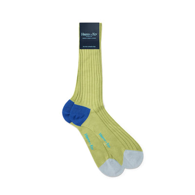 Lime Green Cotton Socks with Contrast Heel & Toe