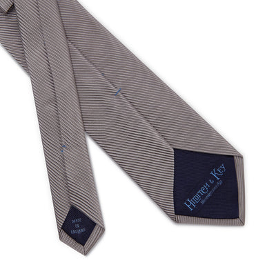 Plain Silver Woven Silk & Cotton Tie