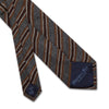 Grey Cashmere, Wool & Silk Tie with Brown, Tan & White Stripes