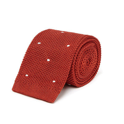 Rust Knitted Silk Tie with White Spots