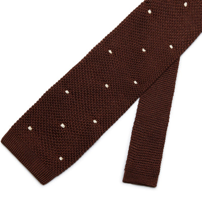 Brown Knitted Silk Tie with White Spots
