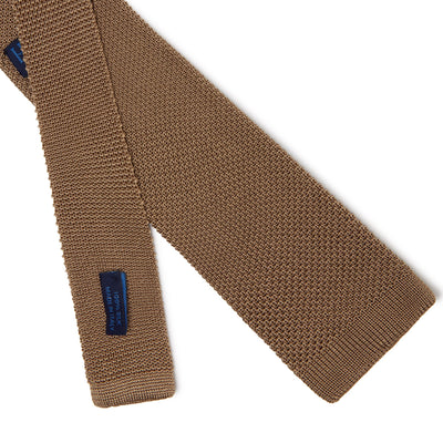 Plain Taupe Knitted Silk Tie