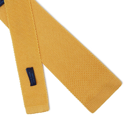 Plain Yellow Knitted Silk Tie