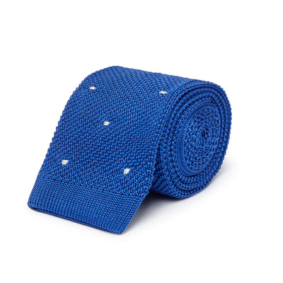 Royal Blue Knitted Silk Tie with White Spots