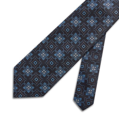Black Woven Silk Tie With Blue & White Flowers, Circles & Diamonds
