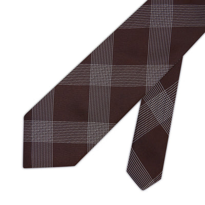Brown with White Check Woven Silk Tie