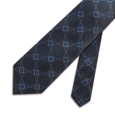 Navy Woven Silk Tie With Cream & Blue Circles