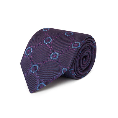 Purple Woven Silk Tie With Purple & Blue Circles