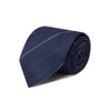 Navy Woven Silk Tie With Purple & Grey Stripe