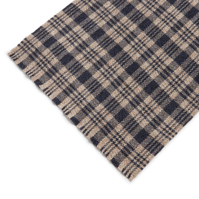 Beige with Navy Check Cashmere Scarf