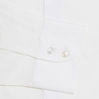 Contemporary Fit, Classic Collar, 2 Button Cuff Shirt in a Plain Cream Poplin Cotton