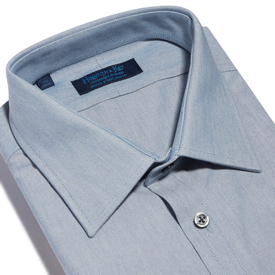 Contemporary Fit, Classic Collar, 2 Button Cuff Shirt in a Blue Textured Oxford Cotton