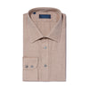Contemporary Fit, Classic Collar, 2 Button Cuff Shirt in a Plain Tan Twill Cotton