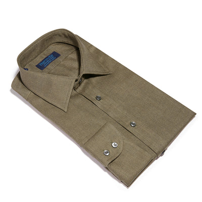 Contemporary Fit, Classic Collar, 2 Button Cuff Shirt in a Plain Brown Twill Cotton